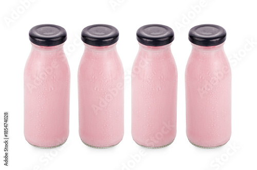 Aluminium Milkshake flavor of milk in bottles isolated on white background
