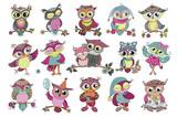 Set of 16 cute colorful cartoon owls