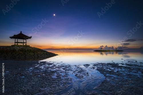 Fotobehang Nachtblauw Sunrise at karang beach, bali, indonesia