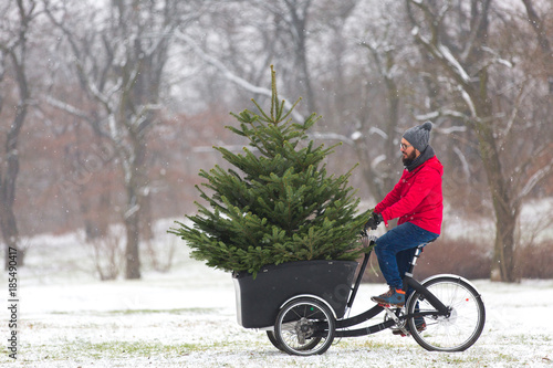 Foto Murales Man cycling home with a big Christmas tree