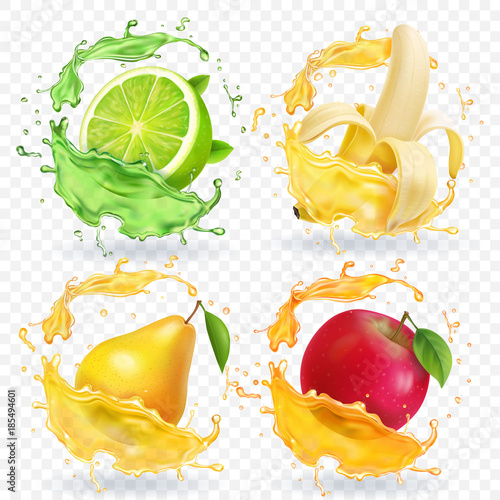 Banana, apple, lime, pear juice Realistic fruits splashes, vector icon set