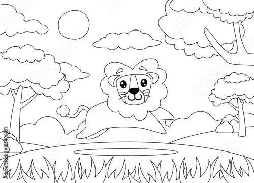 Fotobehang Zoo coloring page of a Lion running happily.