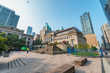 VANCOUVER, CANADA - AUGUST 10, 2017: City buildings from Robson Square. Vancouver attracts 15 million tourists annually