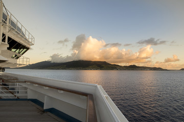 View of St Kitts from deck of cruise ship
