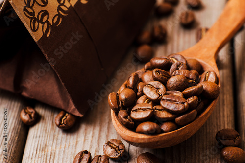 coffee beans.Roasted coffee beans goals.Packaging for coffee
