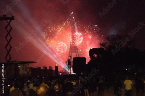 Foto op Canvas Eiffeltoren Bastille Day Fireworks