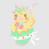 Cute, hand drawn, chicken sitting in a easter egg with tied bow, keeping the flag and flowers bouquet