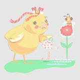Cute, hand drawn chicken with tied bow and can watering the flower with a bee. Vintage, sketchy illustration