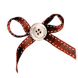 red rag bow with white button in the middle of the sketch vector graphics color drawing strokes - 185529479