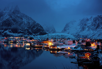 sunset time Reine Village, Lofoten Islands, Norway