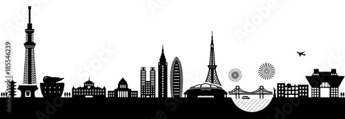 mata magnetyczna Tokyo cityscape illustration. famous landmark building / architecture.