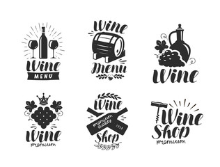 Wine logo or label. Winery, drink symbol. Typographic design vector illustration
