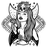 Line art illustration. Scary skull, moon and flowers. Lady Death. Sketch for tattoo, hipster t-shirt design, vintage style posters. - 185553628
