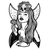 Line art illustration. Scary skull, moon and flowers. Lady Death. Sketch for tattoo, hipster t-shirt design, vintage style posters. - 185553632