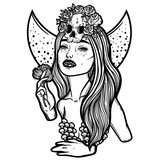 Line art illustration. Scary skull, moon and flowers. Lady Death. Sketch for tattoo, hipster t-shirt design, vintage style posters. - 185553643