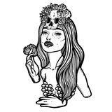 Line art illustration. Scary skull and flowers. Lady Death. Sketch for tattoo, hipster t-shirt design, vintage style posters. - 185553647