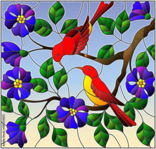 illustration-in-stained-glass-style-with-two-two-bright-red-birds-on-the-branches-of-blooming-wild-rose-on-a-background-sky