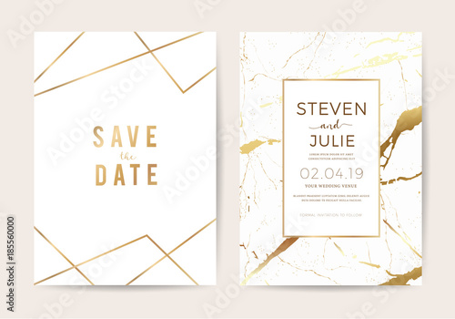 Fototapeta wedding cards with marble texture and gold. design for cover, banner, invitation, card Branding and identity Vector illustration.