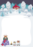 Children's background with the image of funny forest animals and winter landscape.