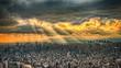 光芒に照らされる東京の都心の風景 HDRイメージ