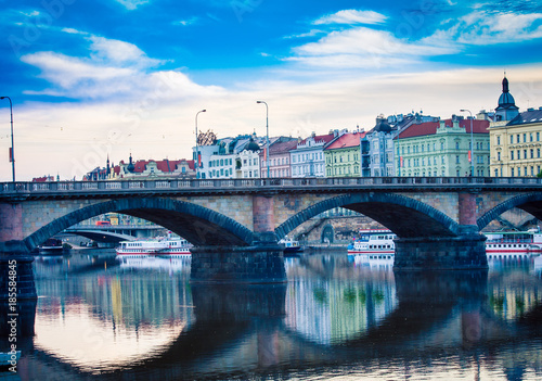 bridge on Prague waterfront Poster