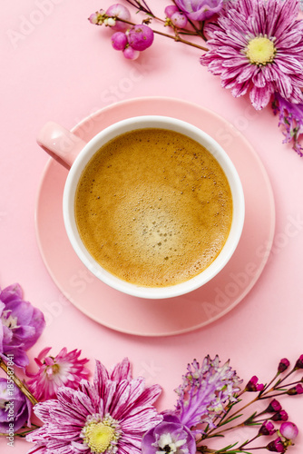 coffee in pink pastel table top view