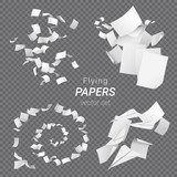 Vector set of different groups of flying papers and paper planes isolated on transparent background - 185594410