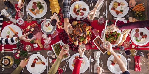 Christmas new year dinner group concept - 185595629