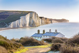 The Coast Guard Cottages and Seven Sisters Chalk Cliffs just outside Eastbourne, Sussex, England, UK. - 185600026