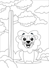 coloring page of a Lion sit and smiling.