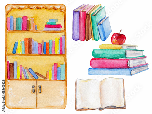 Set of books In different positions. Watercolor hand painted illustration © Mimomy