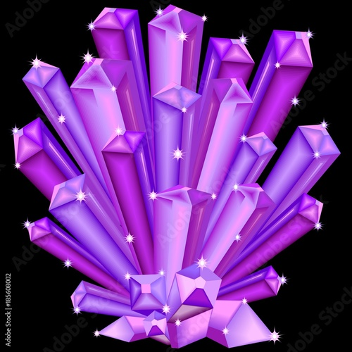 Poster Draw Amethyst Crystal Faceted Purple Gem isolated on black