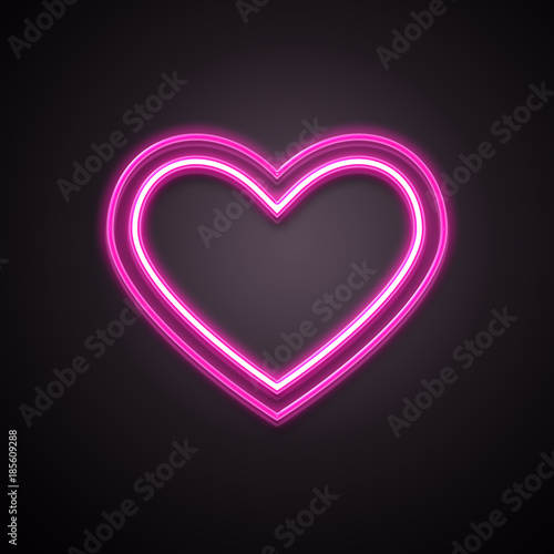 Heart neon icon. Valentines day concept. Illustration Stock.