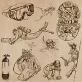 DIVING - An hand drawn vector collection, Divers. Freehand drawing. Line art sketching. - 185609643