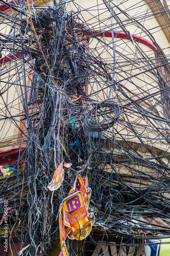 kolkata india october 31 2016 chaotic mess of wires. Black Bedroom Furniture Sets. Home Design Ideas