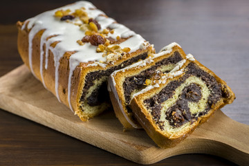 poppy seed cake with nuts and raisins