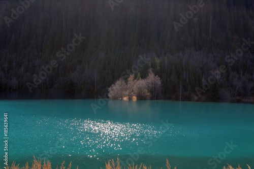 Foto op Canvas Bergen unbelievable color of water in mountain lake