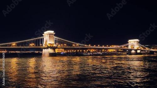 Poster budapest city at night hyperlapse timelapse in motion chain bridge from danube river