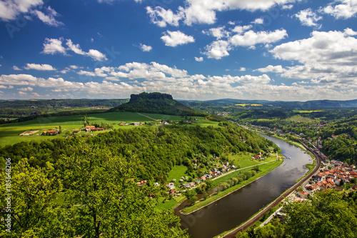 Aluminium Lente Saxony, Germany. Elba river, natural landscape