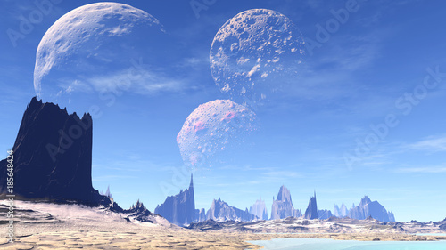 Alien Planet. Mountain. 3D rendering - 185648424