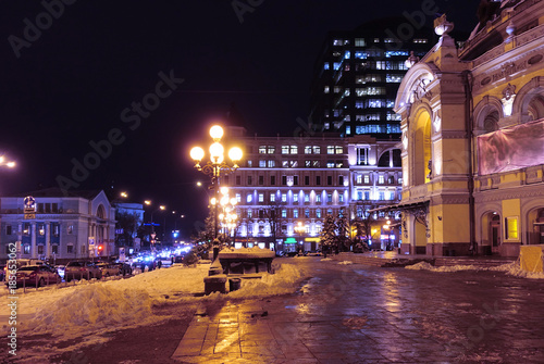 Foto op Plexiglas Kiev National Academic Opera and Ballet Theater of Ukraine in Kiev. Winter evening