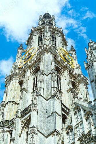Keuken foto achterwand Antwerpen Gothic cathedral clock tower