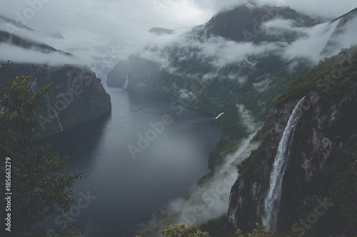 Tuinposter Donkergrijs The Geirangerfjord area, Norway – Fjords and waterfalls
