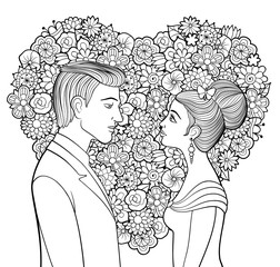 Black and white vector illustration of young couple. Man and woman looking to each other and big decorative heart made of flowers on background. Lady in evening dress with butterfly in her hair