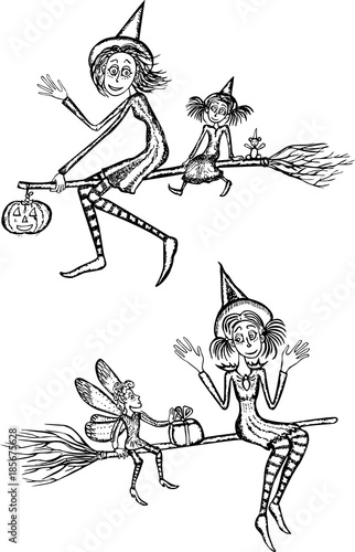 Young witches fly on the brooms - 185675628