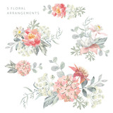 Set of the floral arrangements. Pink flowers with pearl gray leaves. Watercolor vector illustration. Romantic garden bouquets.