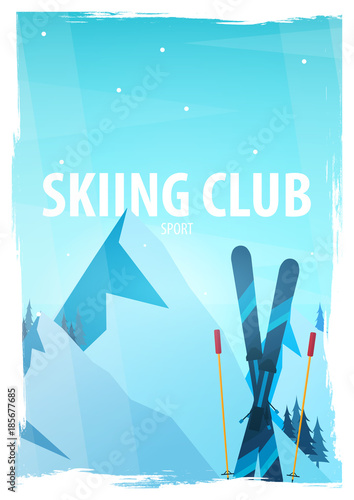 Fotobehang Turkoois Winter Sport. Ski and Snowboard. Mountain landscape. Snowboarder in motion. Vector illustration.