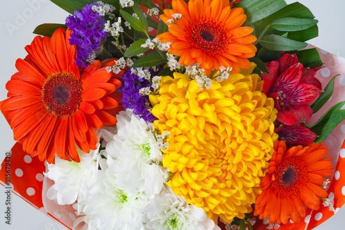 Aluminium Gerbera bouquet of flowers from red gerberas and chrysanthemums