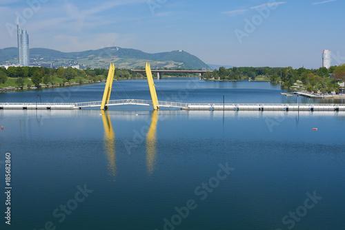 Deurstickers Wenen Danube river cityscape in Vienna Austria
