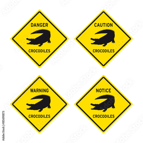 danger caution warning notice crocodiles alligator sign set buy